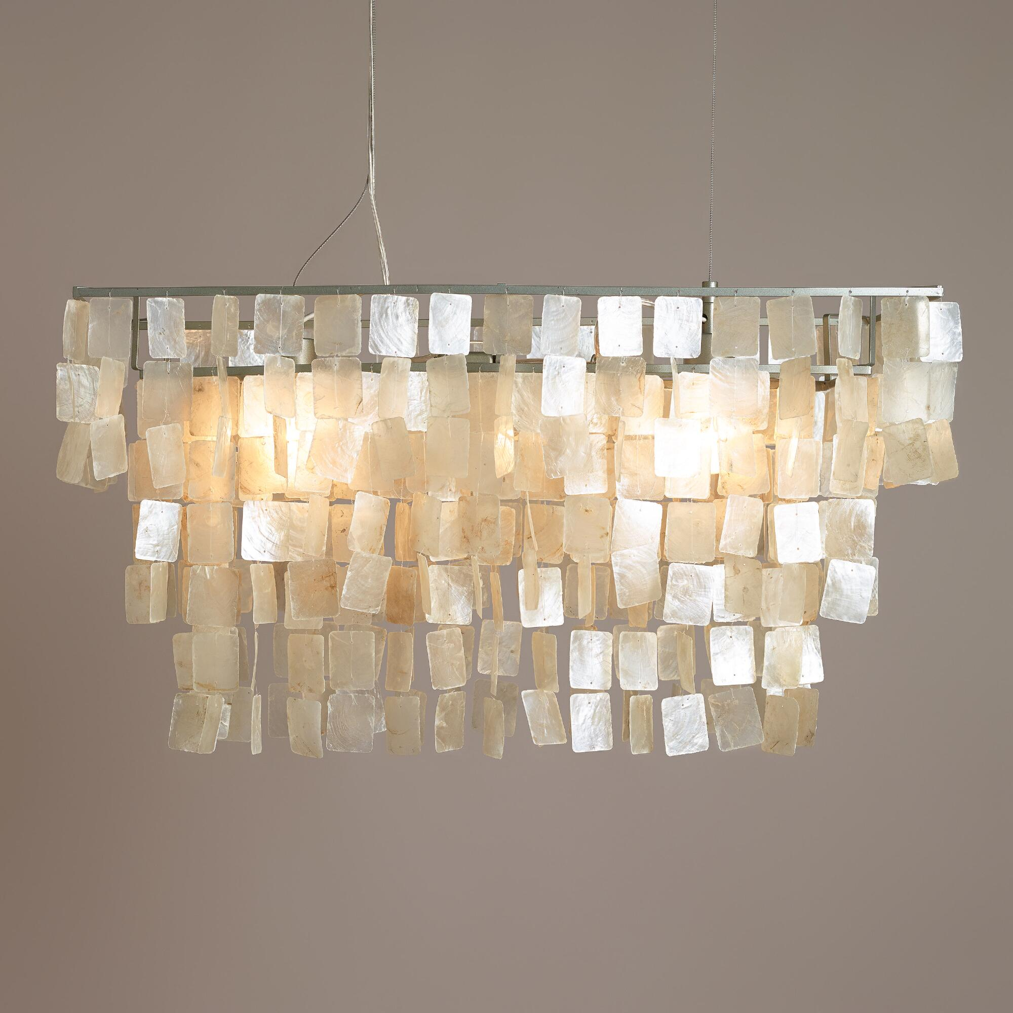Awesome capiz chandelier for home lighting design with rectangular capiz chandelier