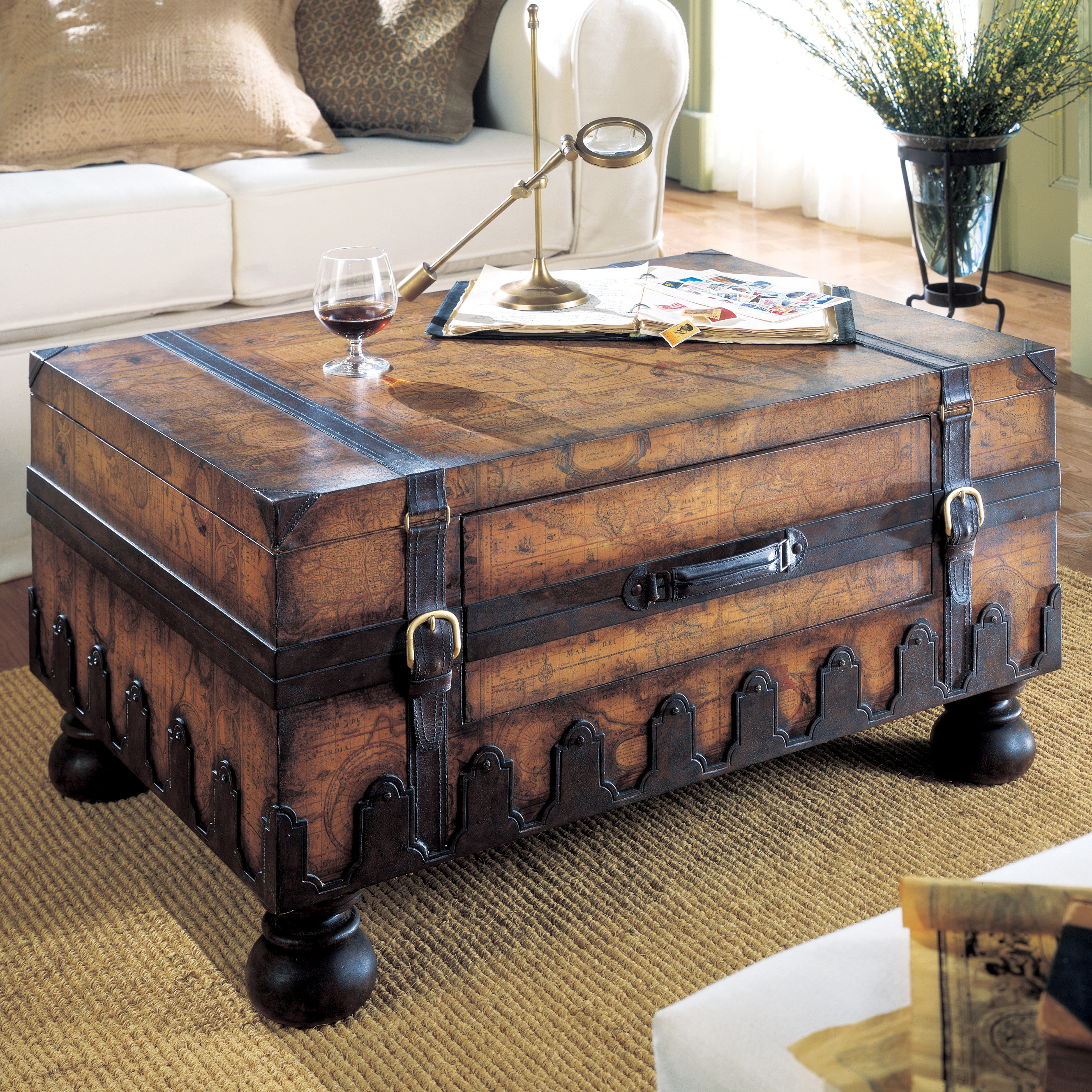 Awesome trunk coffee table with white sofa and rugs for classic home furniture with storage trunk coffee table