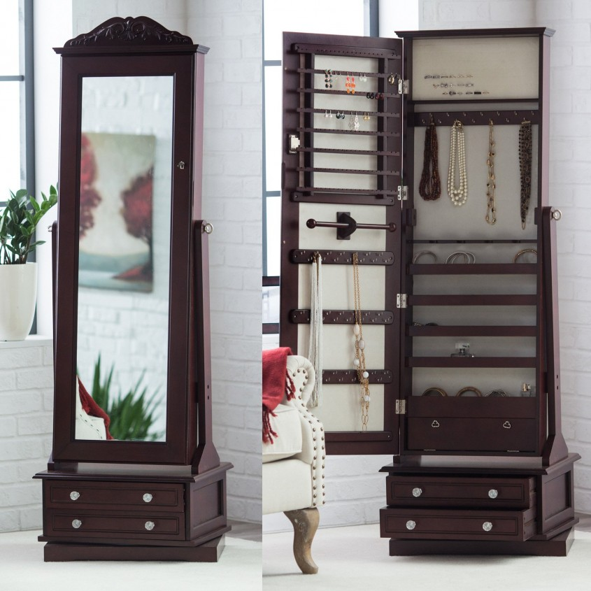Breathtaking Cheval Mirror Jewelry Armoire For Vintage Home Furniture With White Cheval Mirror Jewelry Armoire