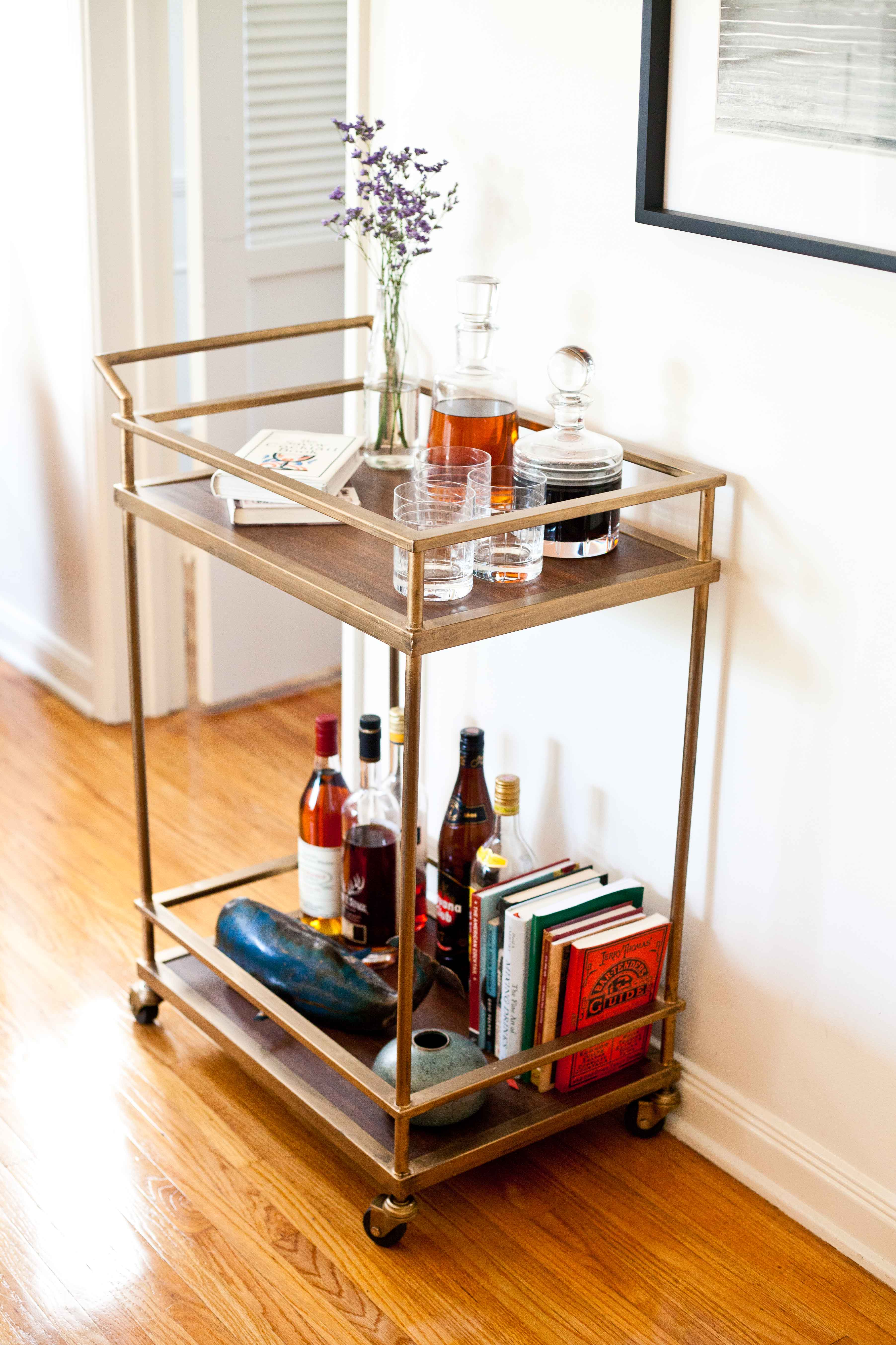Captivating bar carts for bar furniture ideas with gold bar cart and diy bar cart