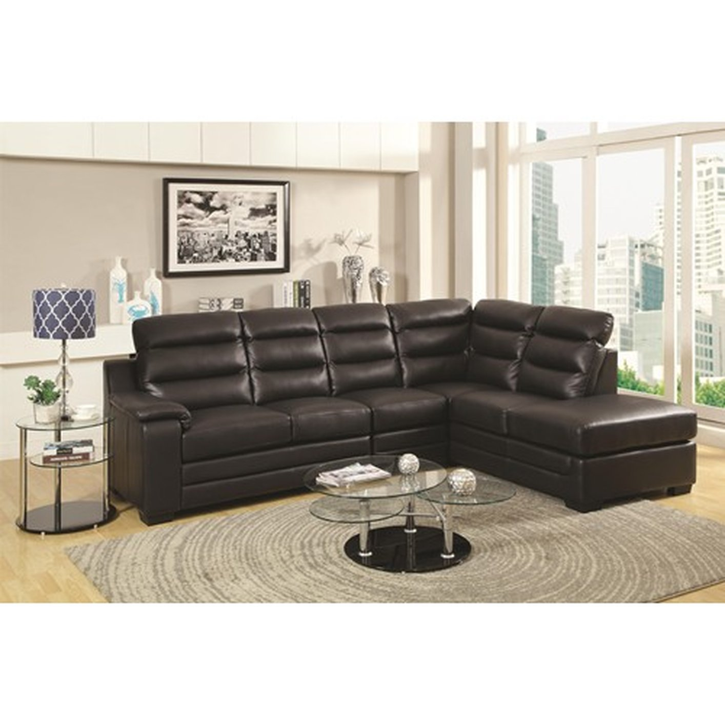 Charming black leather sectional for elegant living room design with black leather sectional sofa