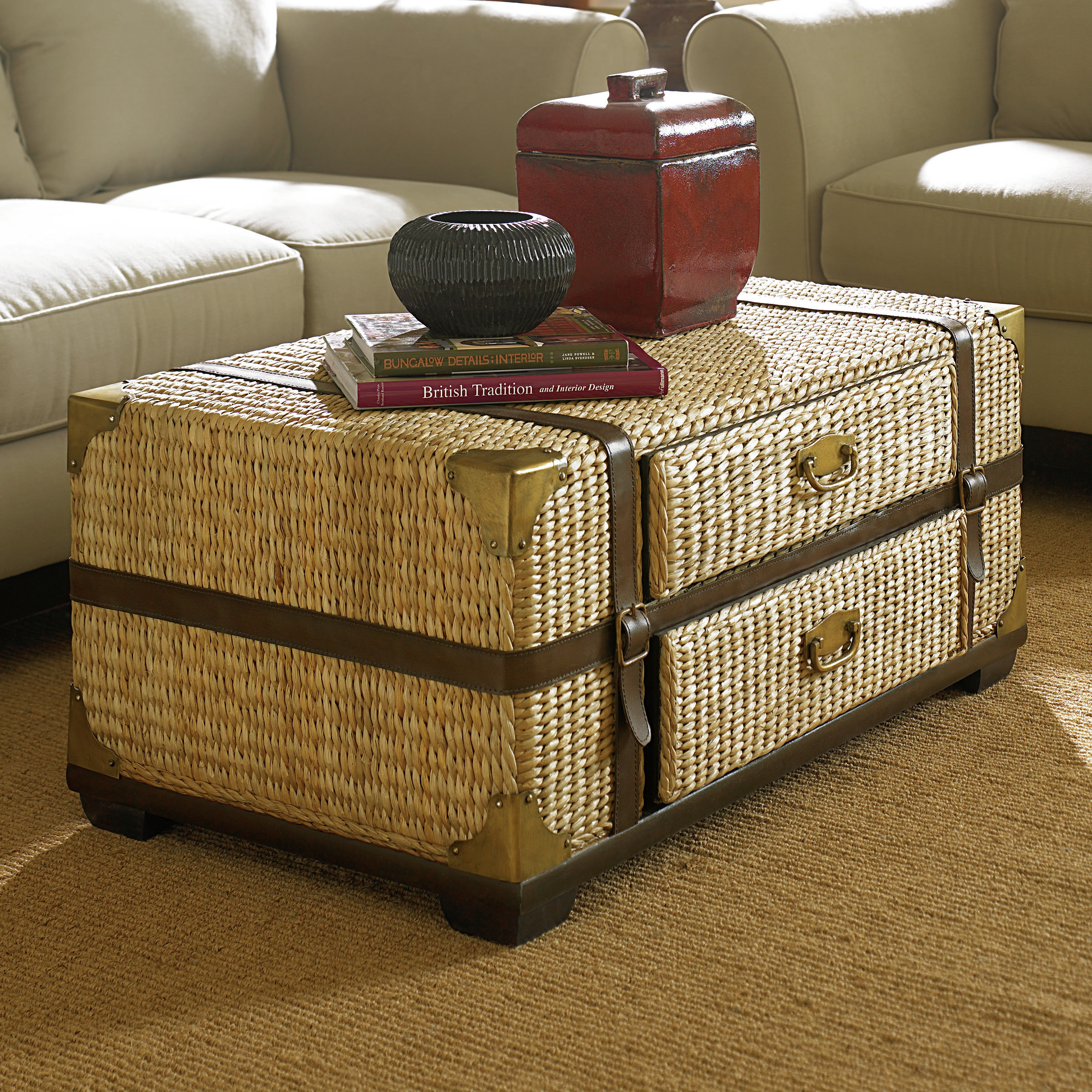 Charming trunk coffee table with white sofa and rugs for classic home furniture with storage trunk coffee table