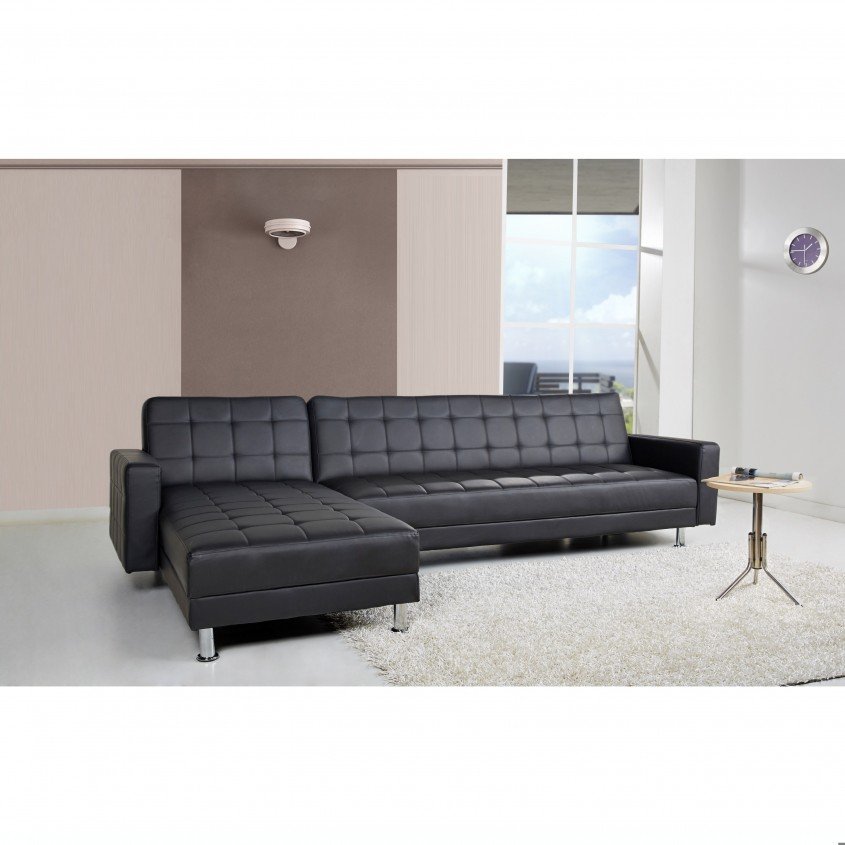 Chic Black Leather Sectional For Elegant Living Room Design With Black Leather Sectional Sofa