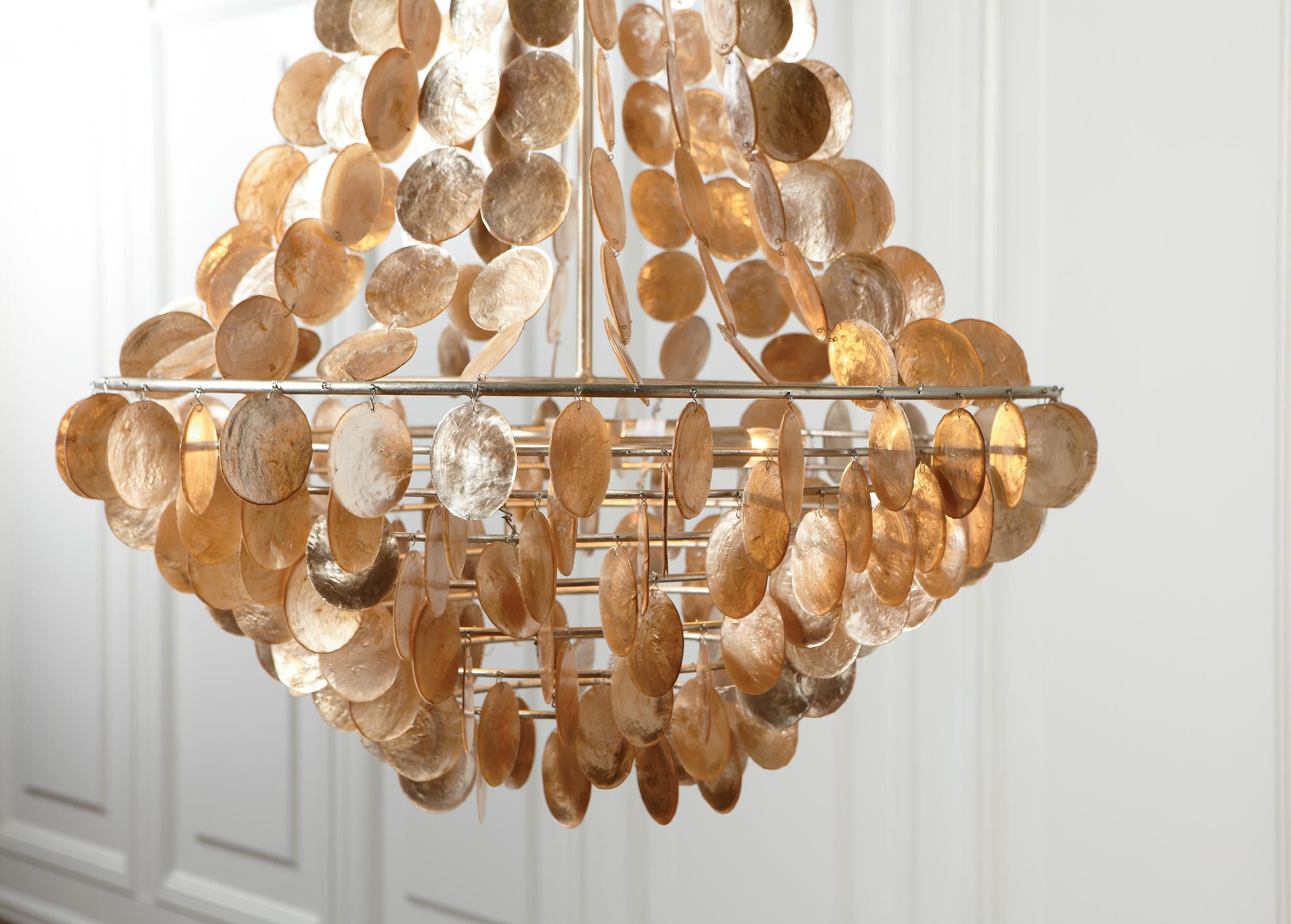 Chic capiz chandelier for home lighting design with rectangular capiz chandelier