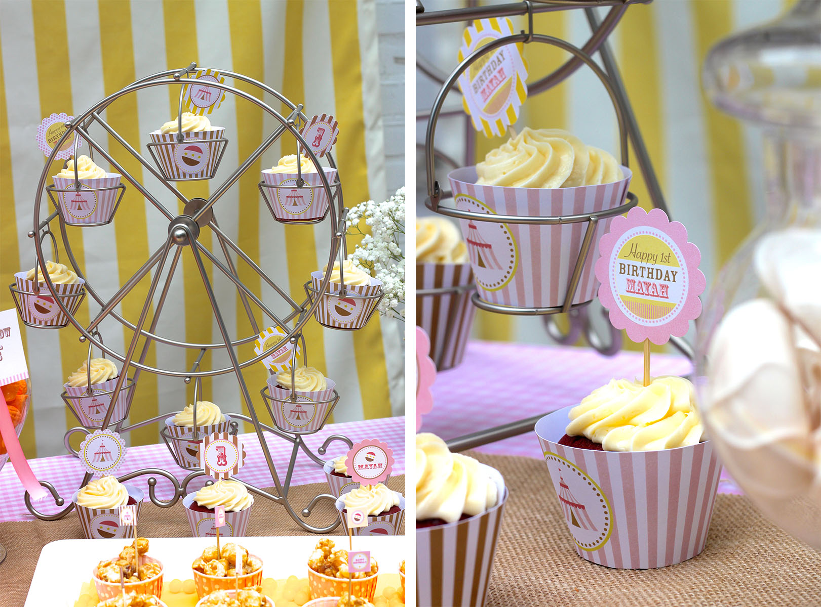 Chic ferris wheel cupcake holder for carnival party with ferris wheel cupcake stand