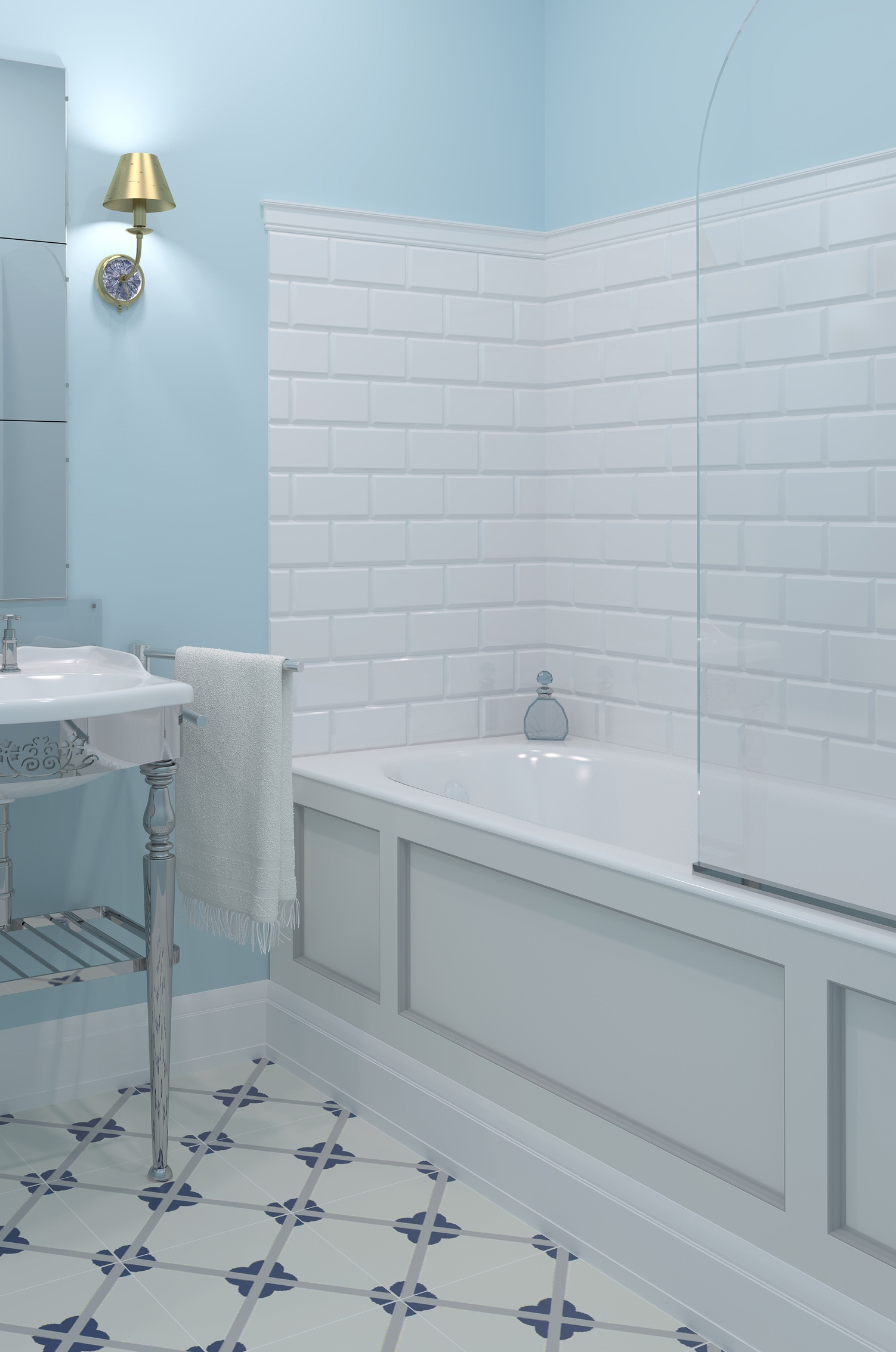 Small blue with white bathroom in modern house