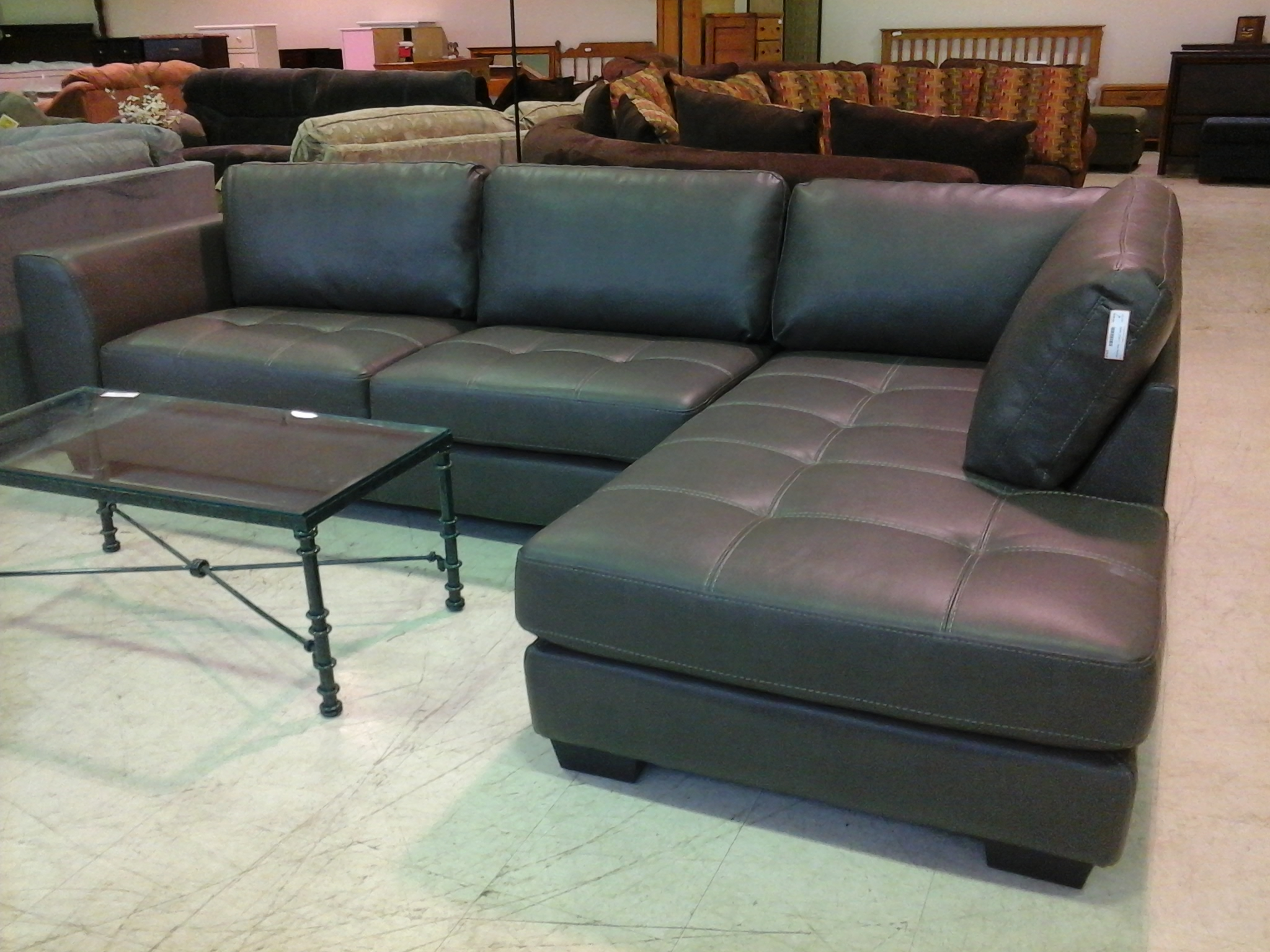 Cly Black Leather Sectional For Elegant Living Room Design With Sofa