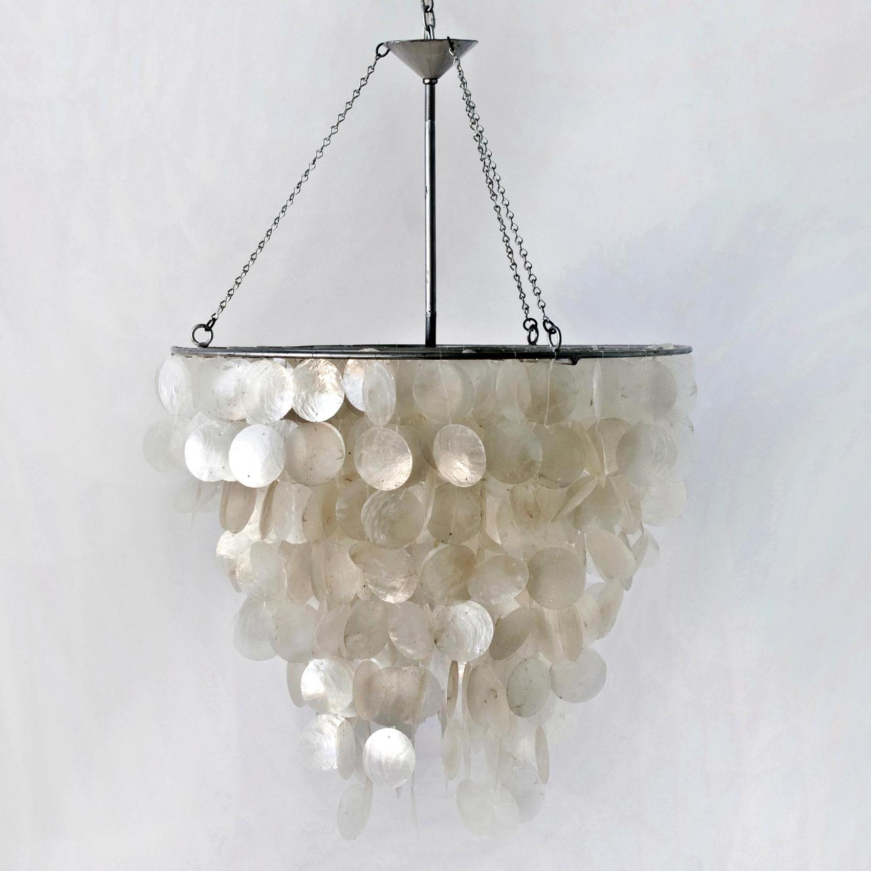 Classy capiz chandelier for home lighting design with rectangular capiz chandelier