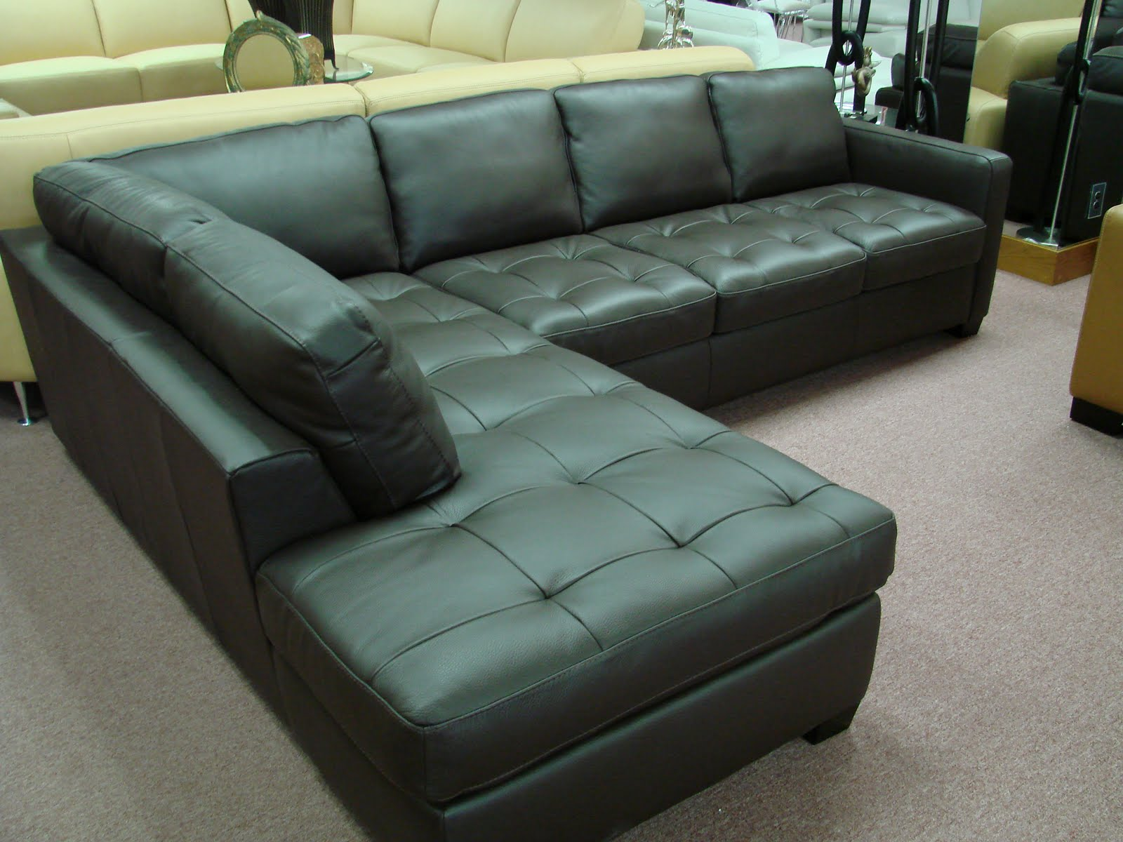 Comfy black leather sectional for elegant living room design with black leather sectional sofa