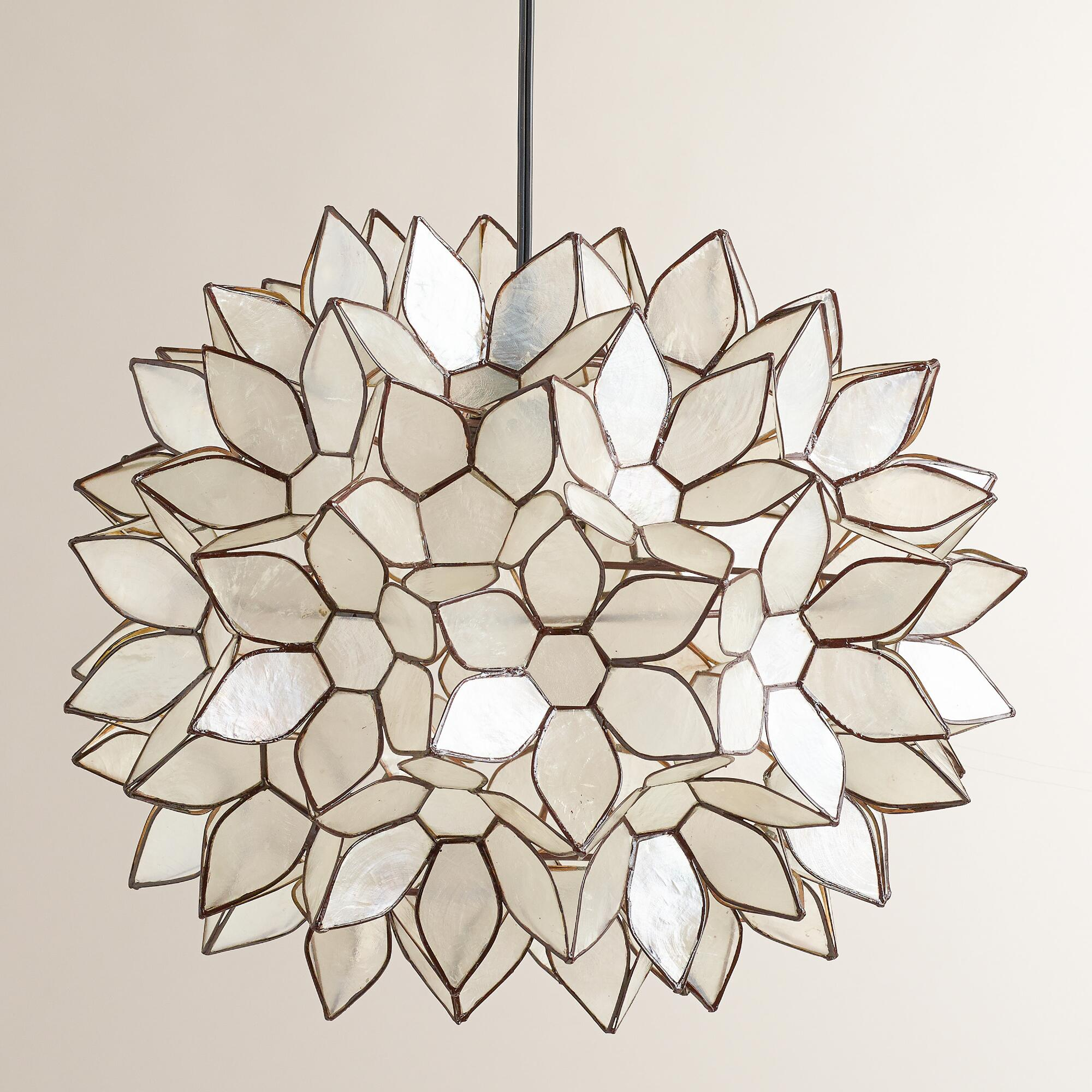 Comfy capiz chandelier for home lighting design with rectangular capiz chandelier