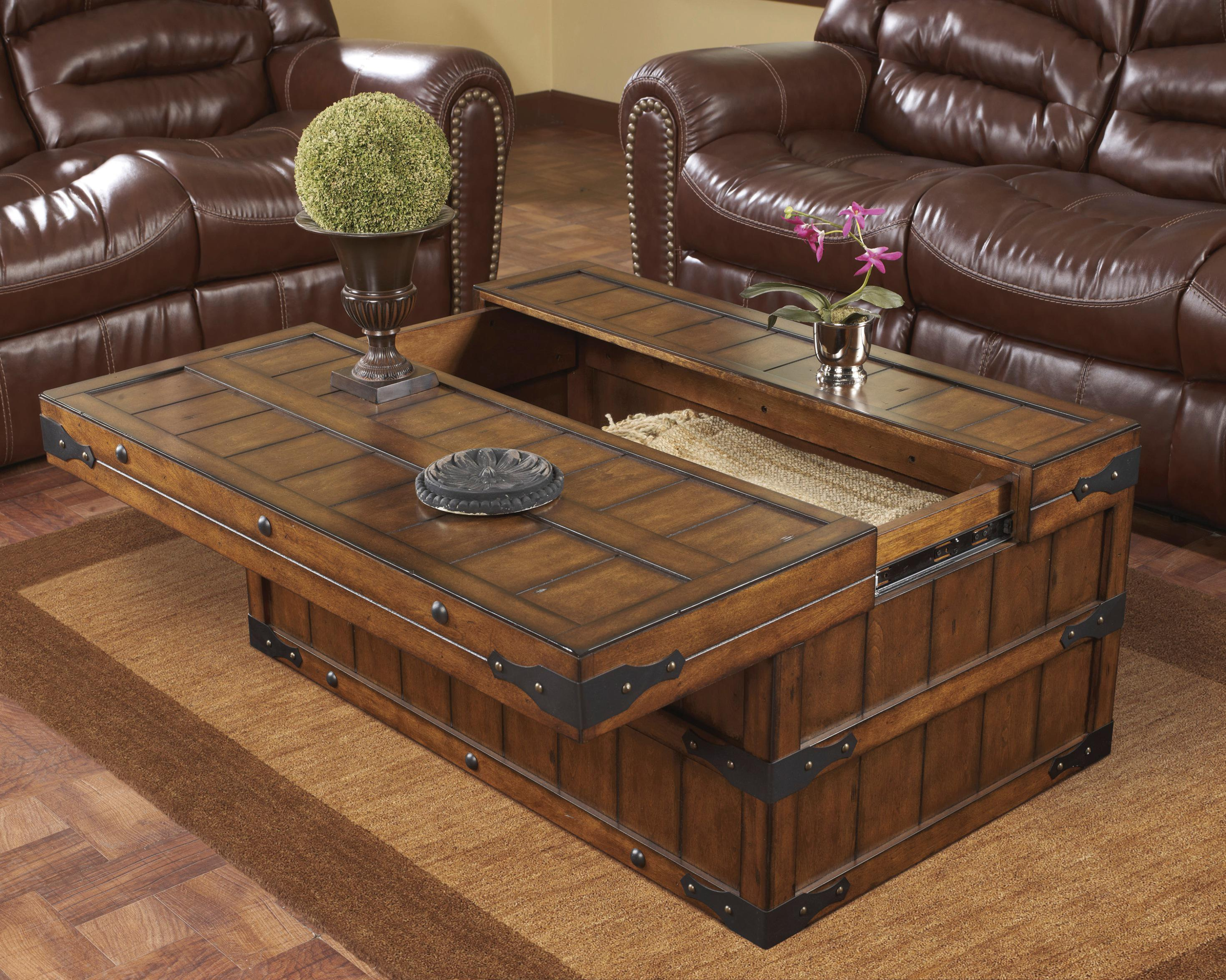 Comfy trunk coffee table with sofa and rugs for classic home furniture with storage trunk coffee table