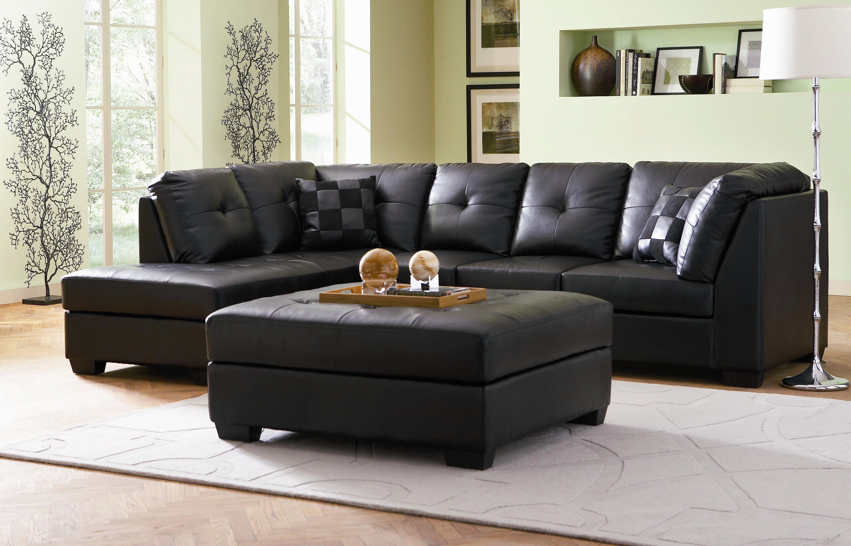Cool black leather sectional for elegant living room design with black leather sectional sofa