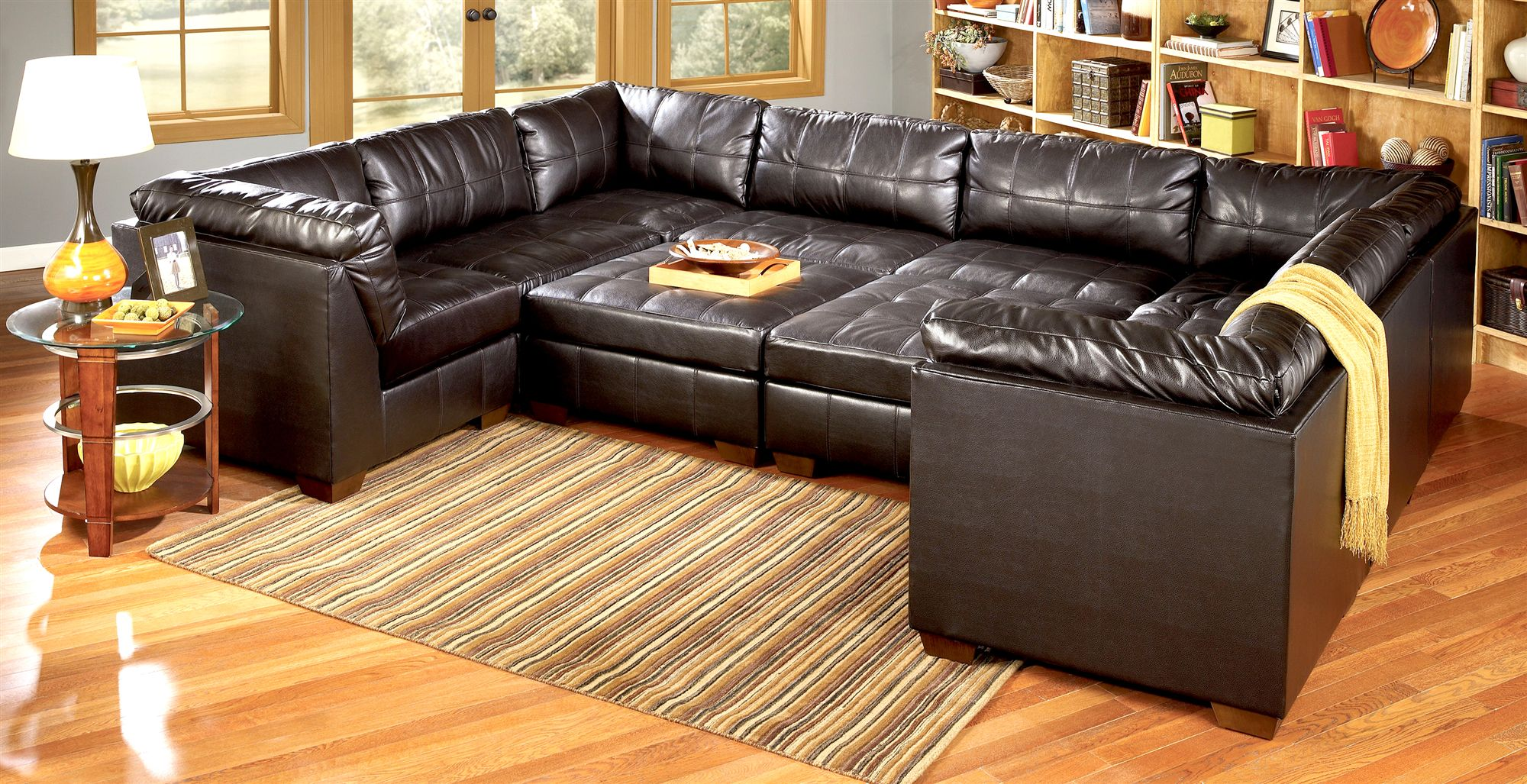 Cute black leather sectional for elegant living room design with black leather sectional sofa