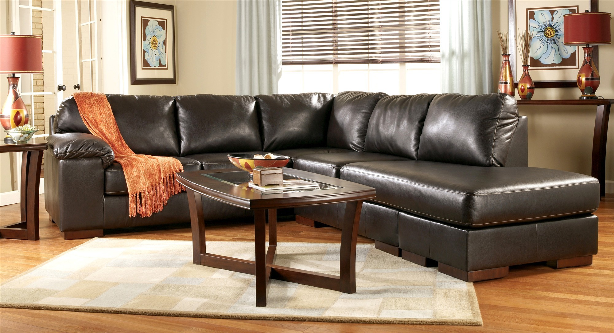 Dazzling black leather sectional for elegant living room design with black leather sectional sofa