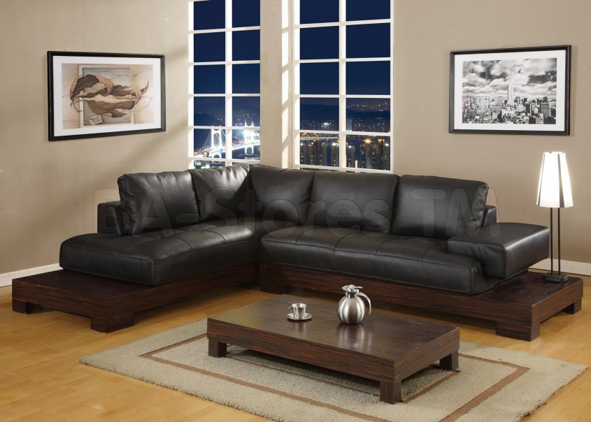 Exciting Black Leather Sectional For Elegant Living Room Design With Black Leather Sectional Sofa