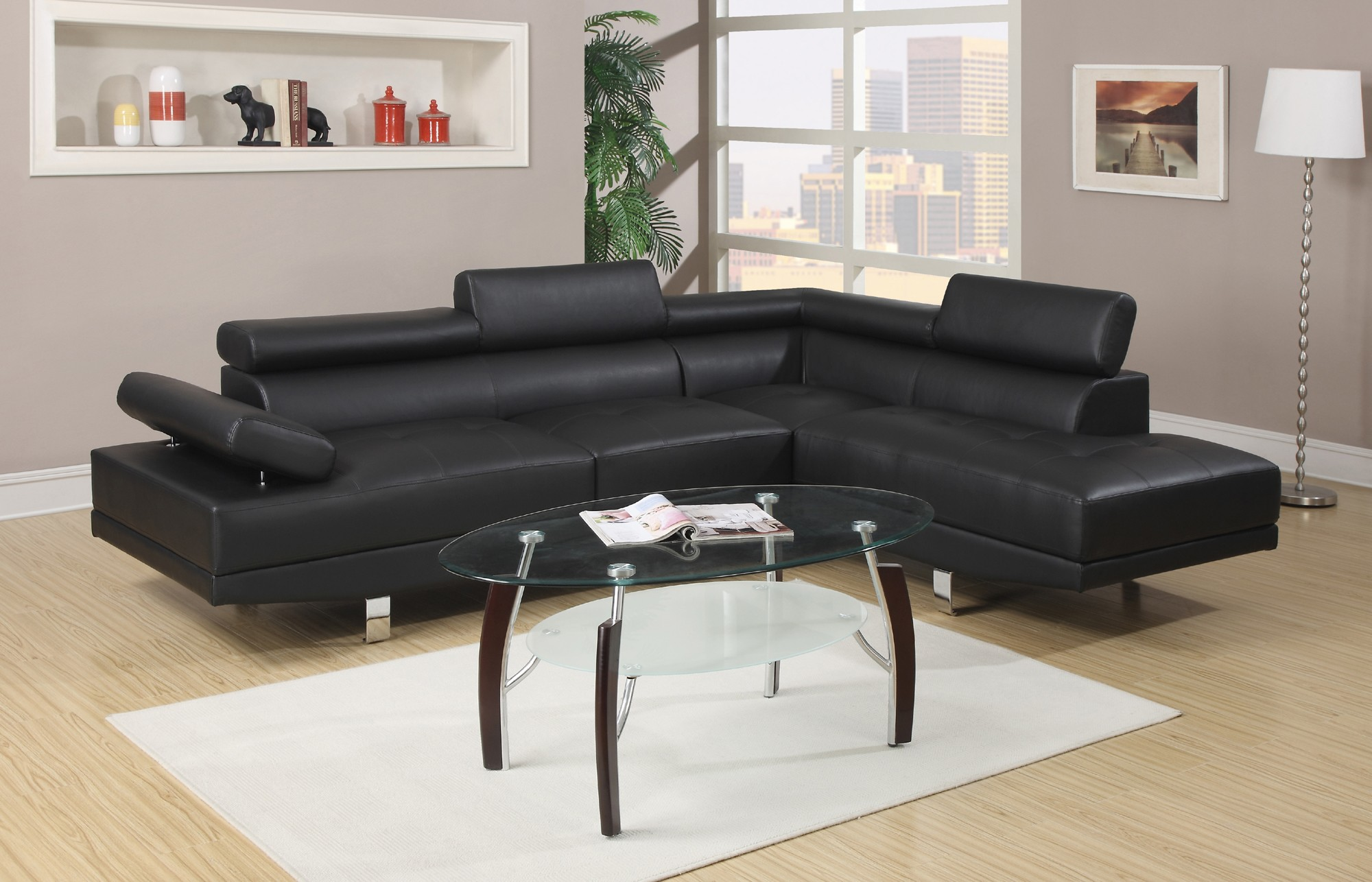 Extraordinary black leather sectional for elegant living room design with black leather sectional sofa