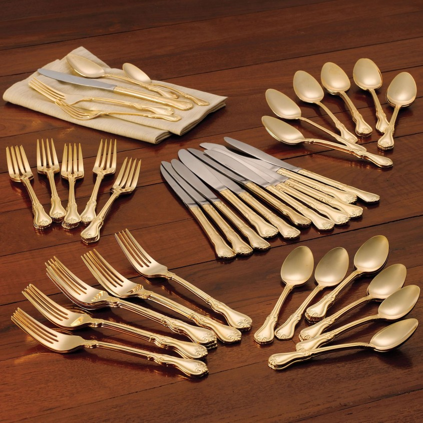 Fascinating Gold Flatware For Kitchen And Dining Sets Ideas With Gold Flatware Set