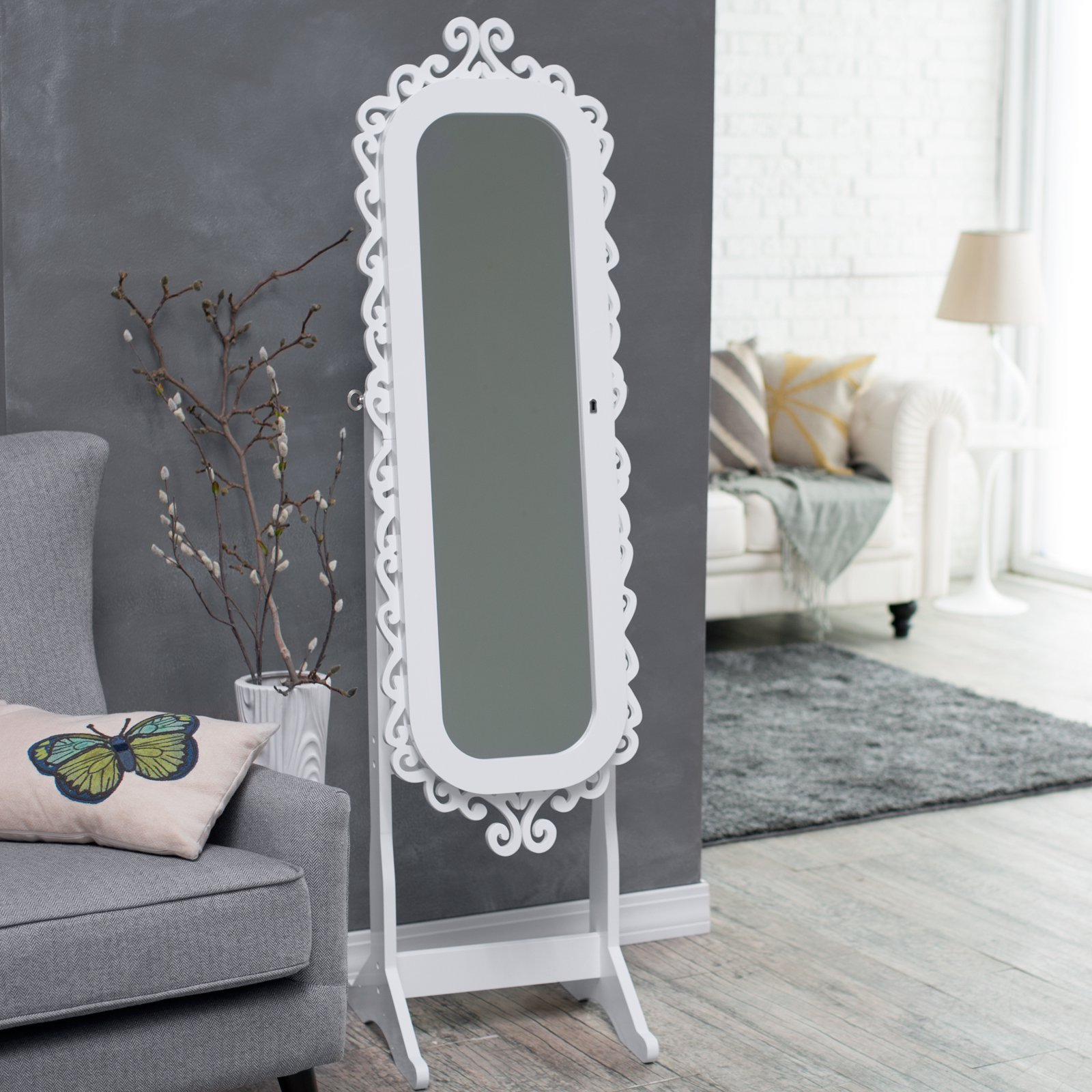 Interior Decor Interesting Cheval Mirror Jewelry Armoire For Home