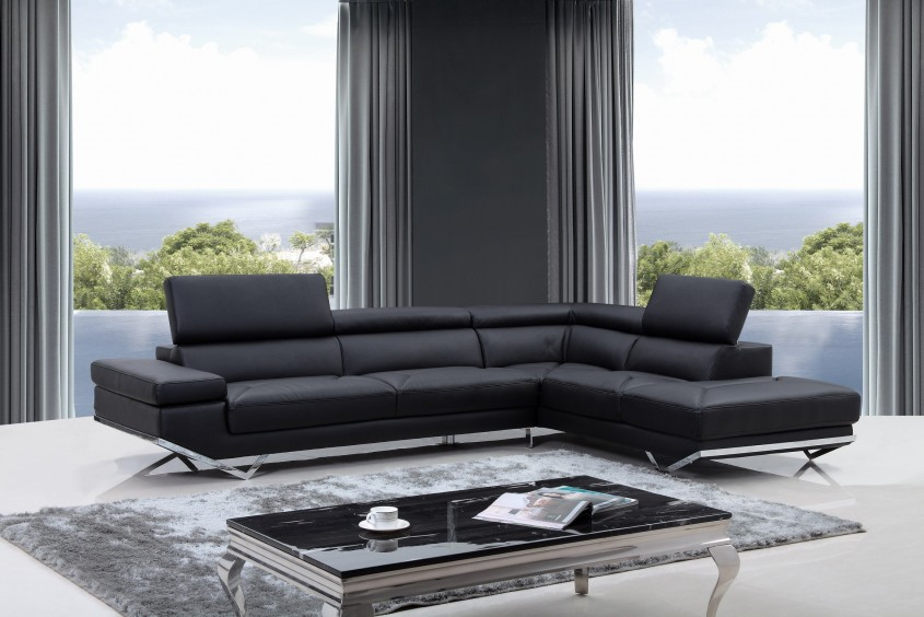 Inspiring Black Leather Sectional For Elegant Living Room Design With Black Leather Sectional Sofa