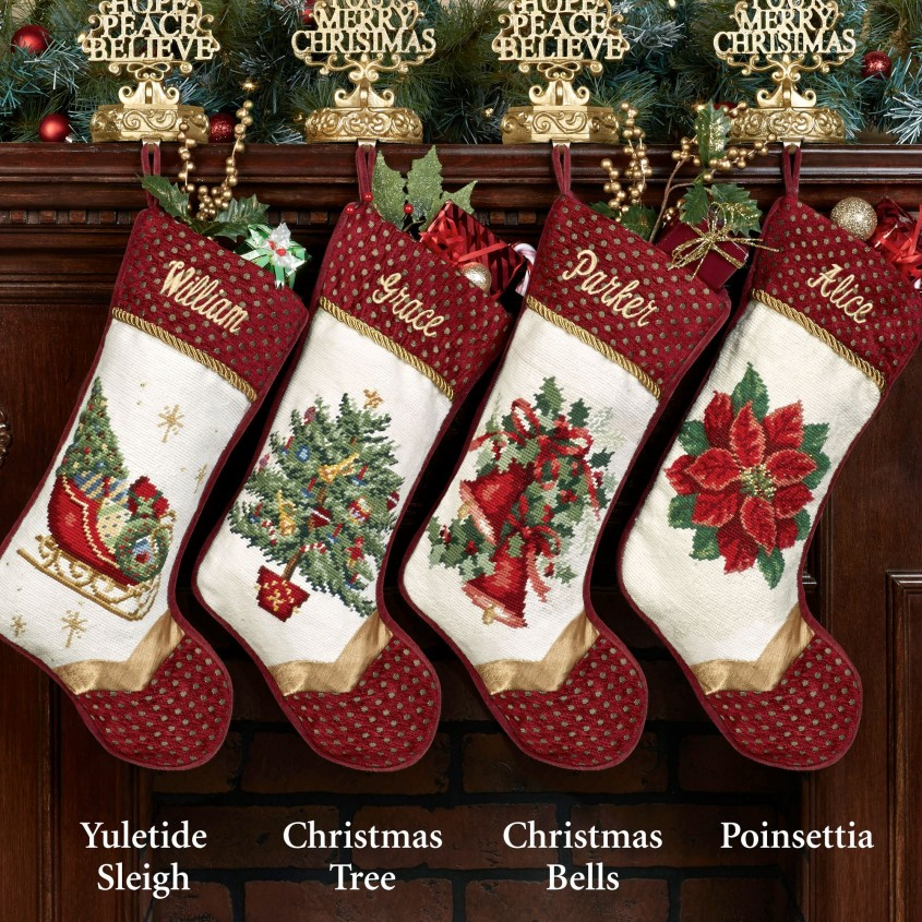 Interesting Personalized Needlepoint Christmas Stockings For Christmas Decorating Ideas With Needlepoint Christmas Stockings Personalized