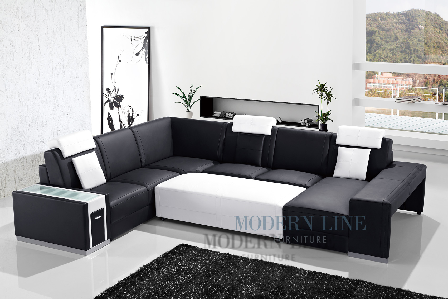 Marvellous black leather sectional for elegant living room design with black leather sectional sofa