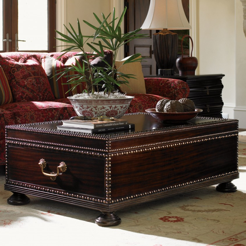 Terrific Trunk Coffee Table With Floral Sectional Sofa And Side Desk Lamps For Classic Home Furniture With Storage Trunk Coffee Table