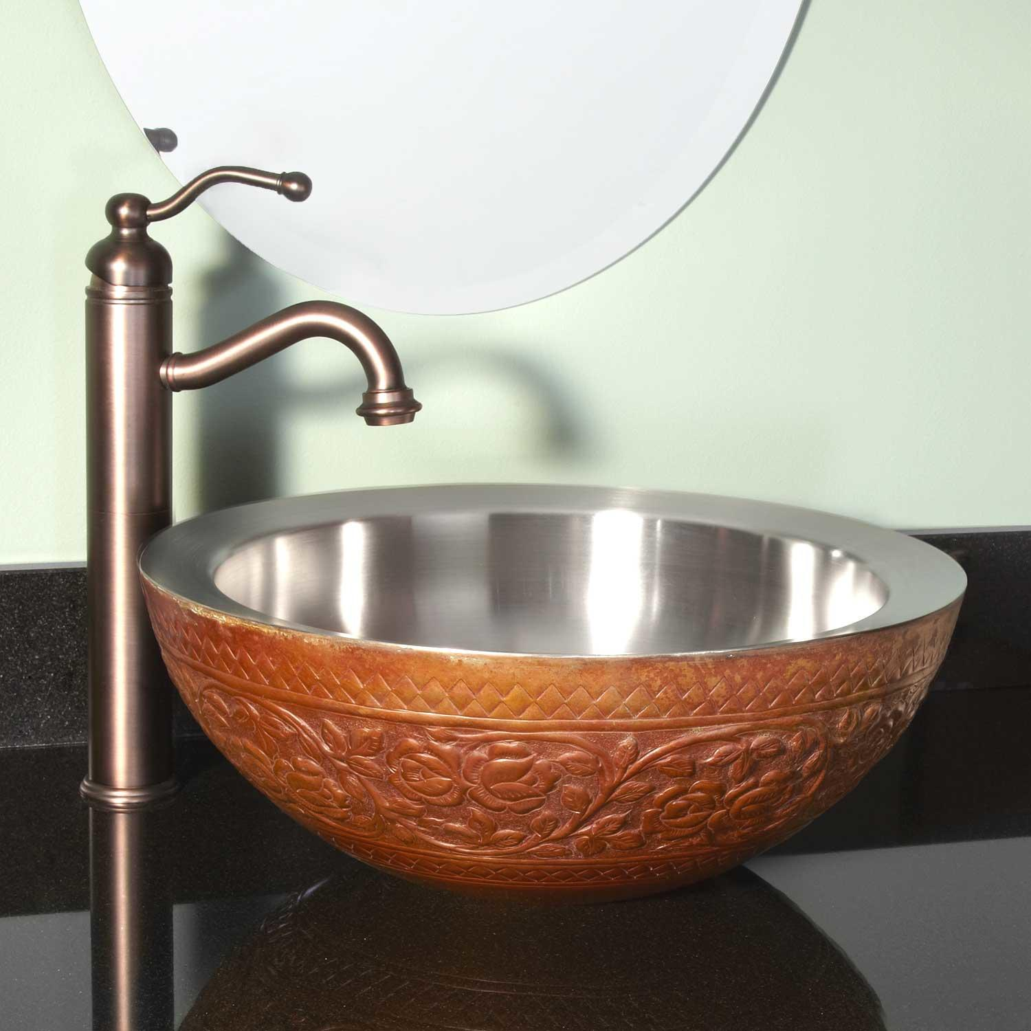 Top mirabelle sinks with glistening-garden-double-wall-copper-vessel-sink for bathroom with mirabelle undermount sink